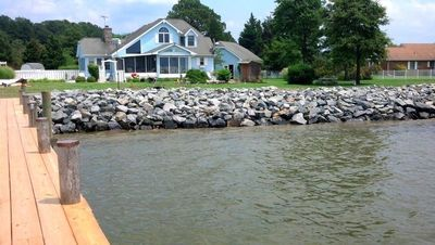 Stone riprap shoreline protection